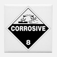 Corrosive Danger Warning Sign Tile Coaster