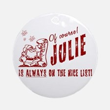 Nice List Julie Christmas Ornament (Round)