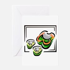 Green peppers cartoon in square Greeting Card