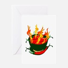 Hot peppers in green cup flames Greeting Card