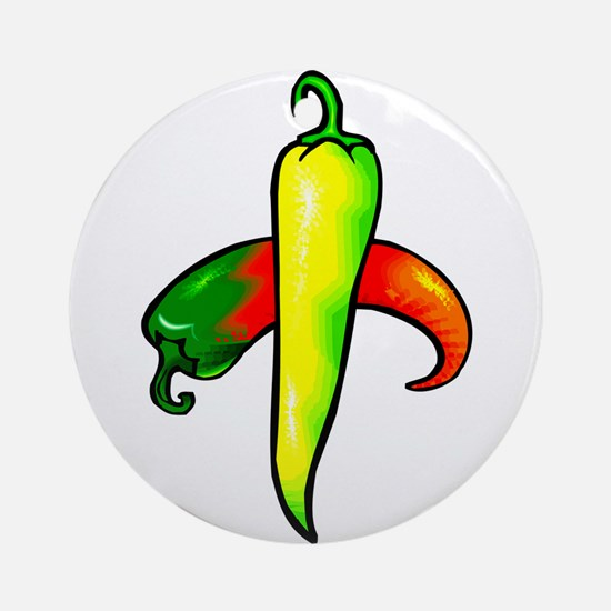 two peppers one yellow Ornament (Round)