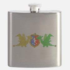 Cute Cartoon Dragons Crest Coat of Arms Flask