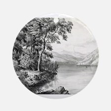 View on Lake George NY - 1866 Round Ornament