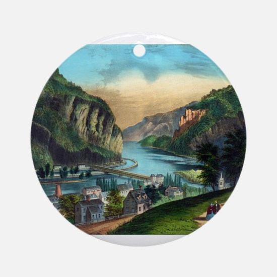 View of Harpers Ferry, Va. - 1907 Round Ornament