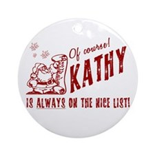 Nice List Kathy Christmas Ornament (Round)