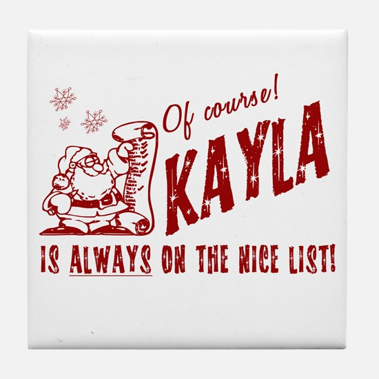 Nice List Kayla Christmas Tile Coaster