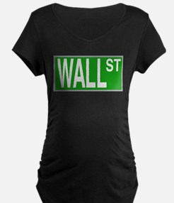 Wall Street Sign Maternity T-Shirt