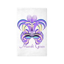 Mardi Gras Purple Feather Mask 3'x5' Area Rug