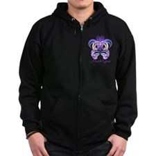 Mardi Gras Purple Feather Mask Zip Hoodie