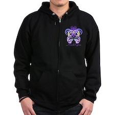 Mardi Gras Purple Feather Mask Zip Hoody