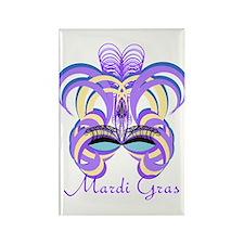 Mardi Gras Purple Feather Mask Rectangle Magnet