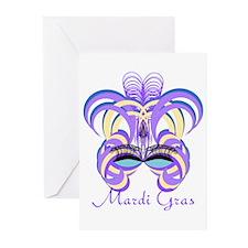 Mardi Gras Purple Feather Mask Greeting Cards (Pk