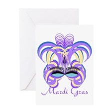 Mardi Gras Purple Feather Mask Greeting Card