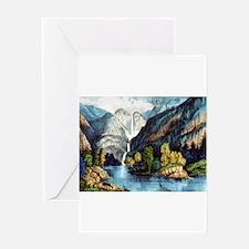 Yo-semite Falls California - 1856 Greeting Card