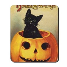 Vintage Halloween, Cute Black Cat Mousepad