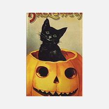 Vintage Halloween, Cute Black Cat Rectangle Magnet