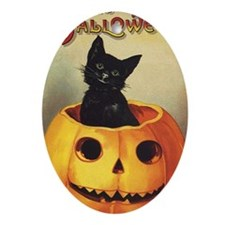 Vintage Halloween, Cute Black Cat Oval Ornament