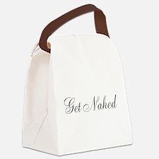 Get Naked Black Script Canvas Lunch Bag