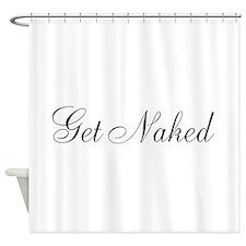 Get Naked Black Script Shower Curtain