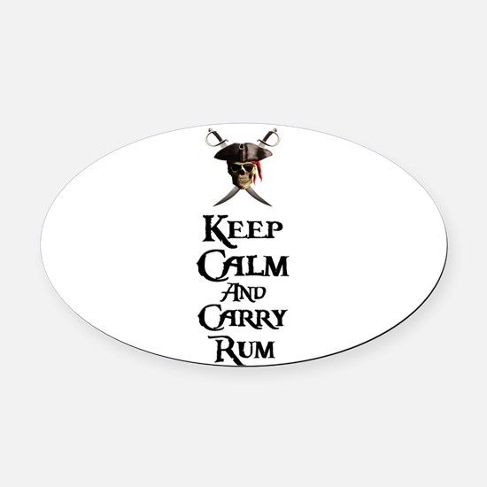 Keep Calm Carry Rum Oval Car Magnet
