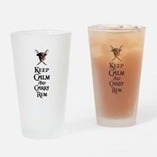 Keep Calm Carry Rum Drinking Glass