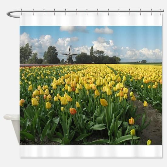 Windmill Yellow Tulips Holland Shower Curtain