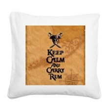 Keep Calm And Carry Rum Square Canvas Pillow