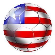 Liberia Soccer Ball Round Car Magnet
