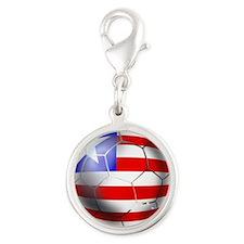 Liberia Soccer Ball Silver Round Charm