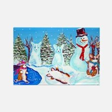 Snow Corgis II Rectangle Magnet