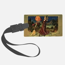 Vintage Halloween Dancing Witch Luggage Tag