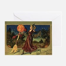 Vintage Halloween Dancing Witch Greeting Card