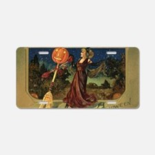 Vintage Halloween Dancing W Aluminum License Plate