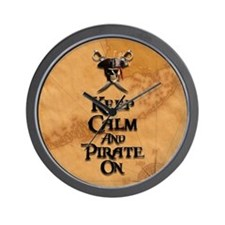 Keep Calm And Pirate On Wall Clock