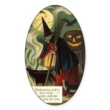Vintage Halloween Witch with Cauldr Decal
