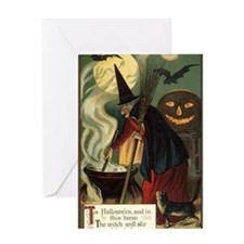 Vintage Halloween Witch with Cauldro Greeting Card