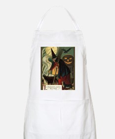 Vintage Halloween Witch with Cauldron Apron