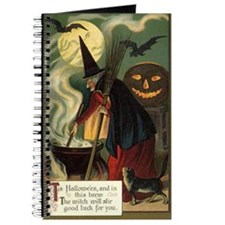 Vintage Halloween Witch with Cauldron Journal