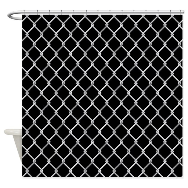Chain Link Fence Shower Curtain (On Black) by implexity