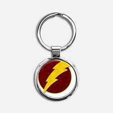 Retro Super Hero lightning bolt Round Keychain