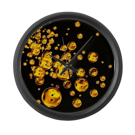 colored bubbles fiery gold large wall clock by ibeleiveimages