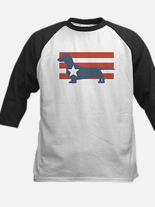 Patriotic Dachshund Kids Baseball Jersey