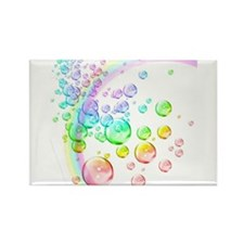 colored bubbles with rainbow2 Rectangle Magnet