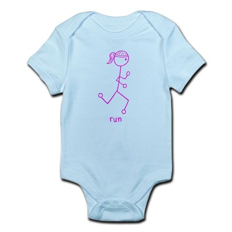 Pink Running Girl w/ Words Body Suit