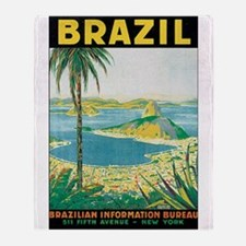 Brazil Travel Poster Throw Blanket
