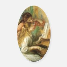 Young Girls at the Piano by Renoir Oval Car Magnet
