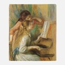 Young Girls at the Piano by Renoir Throw Blanket