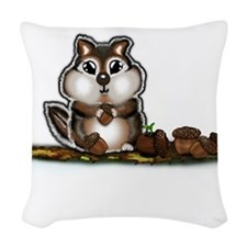 Chipmunk with stash of Acorns (htxt) Woven Throw P