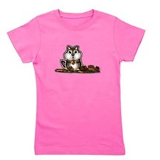 Chipmunk with stash of Acorns (htxt) Girl's Tee