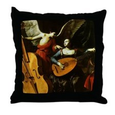 Saint Cecilia and the Angel by Sarace Throw Pillow